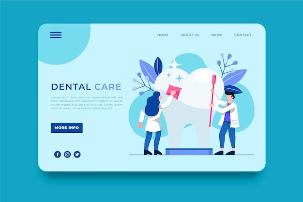 Plantilla web de cuidado dental de diseño plano
