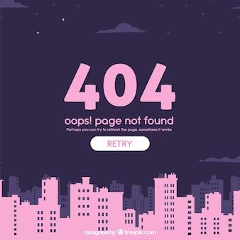 Plantilla web de error 404 con ciudad en estilo plano