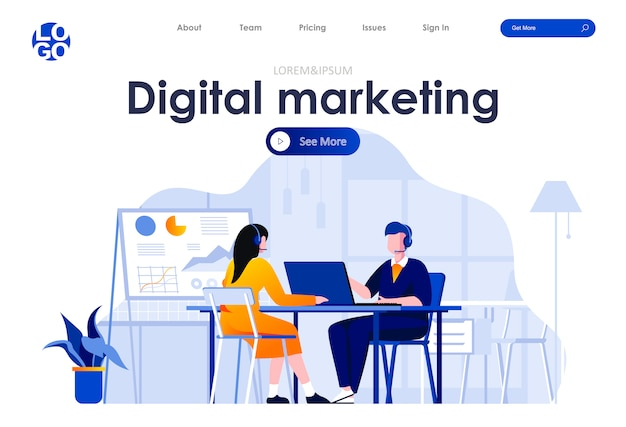Plantilla web de diseño de página de aterrizaje plana de marketing digital