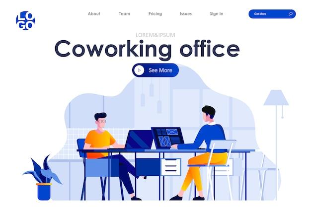 Plantilla web de diseño de página de aterrizaje plana de oficina de coworking