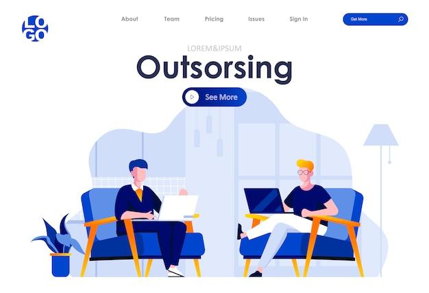 Plantilla web de diseño de página de destino plana de servicio de outsourcing