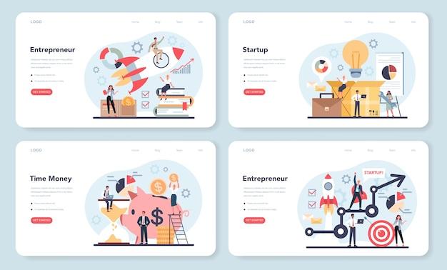 Plantilla web de emprendedor o conjunto de página de destino.