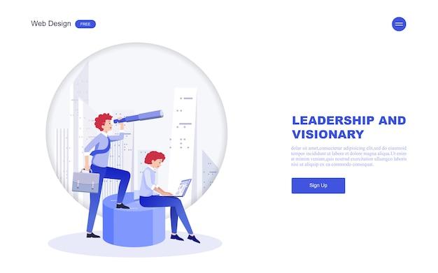 Plantilla web empresarial de visión, liderazgo.
