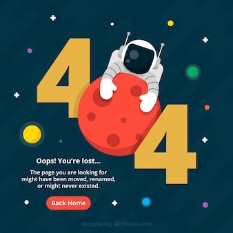 Plantilla de web error 404 con astronauta en estilo plano