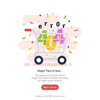 Plantilla de web error 404 con carrito de la compra en estilo plano