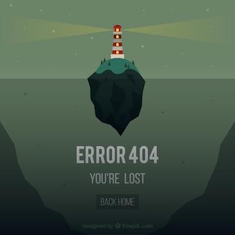 Plantilla de web error 404 con faro de islaen estilo plano