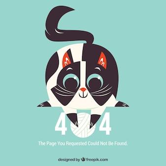 Plantilla web de error 404 con gato feliz