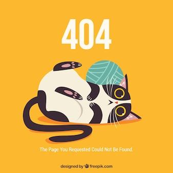 Plantilla web de error 404 con gato gracioso