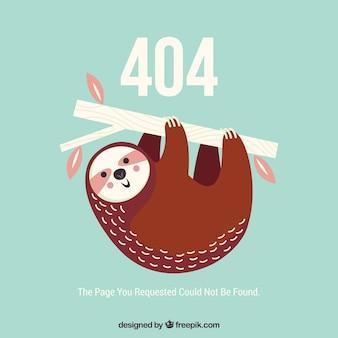 Plantilla web de error 404 con lindo perezoso en el árbol