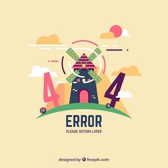Plantilla web de error 404 con molino en estilo plano