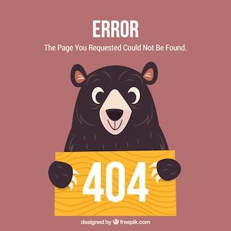 Plantilla web de error 404 con oso feliz