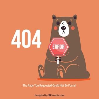 Plantilla web de error 404 con oso sorprendido