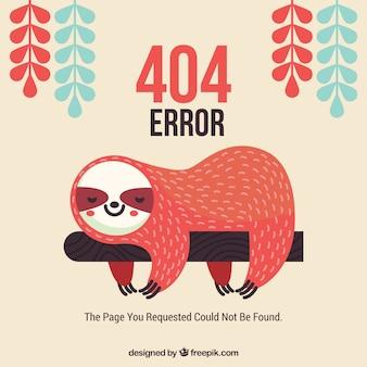 Plantilla web de error 404 con perezoso dormido