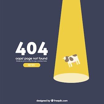 Plantilla web de error 404 con vaca volando en estilo plano