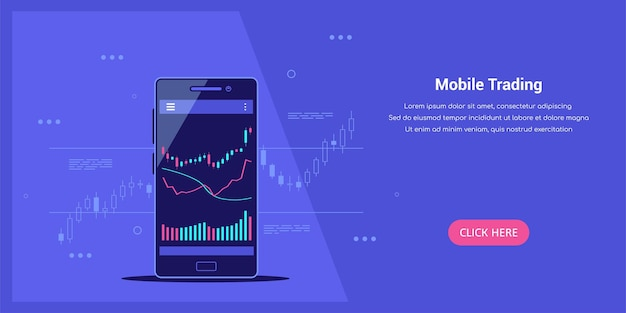 Plantilla web de estilo plano sobre el concepto de comercio de acciones móviles, comercio en línea, análisis del mercado de valores, negocios e inversiones, intercambio de divisas