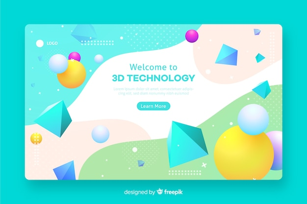 Plantilla web geométrica 3d