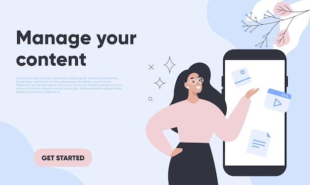 Plantilla web de gestión de contenido con mujer en la pantalla del teléfono inteligente.