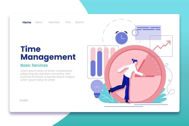 Plantilla web de gestión del tiempo dibujada a mano