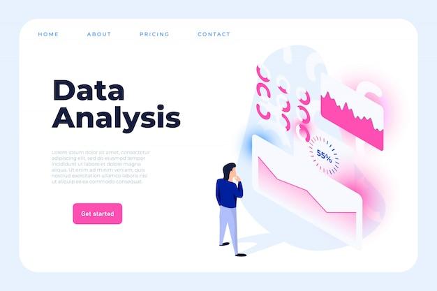 Plantilla web de gráficos de hombre de negocios interactuar