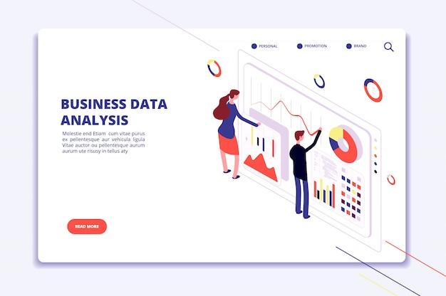 Plantilla de web de gráficos de personas que trabajan en negocios financieros