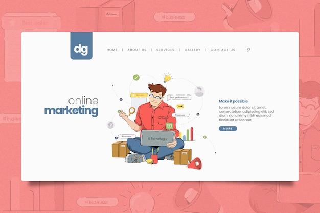 Plantilla web ilustrada de marketing online
