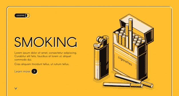 Plantilla web isométrica de actividad de fumar