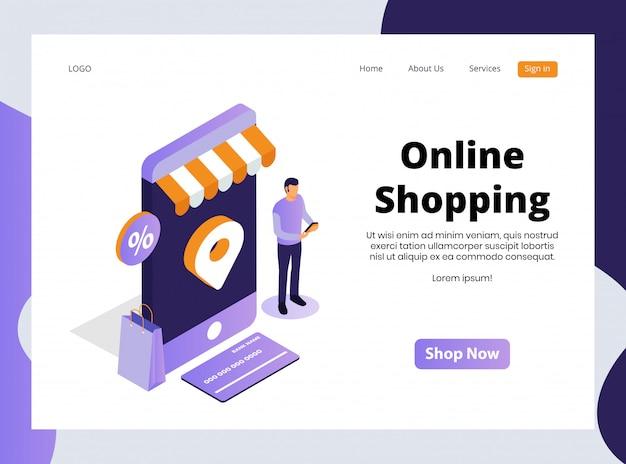 Plantilla web isométrica de compras en línea