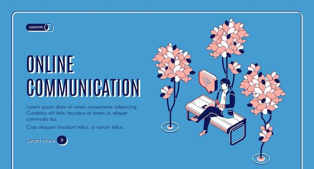 Plantilla web isométrica de comunicación en línea