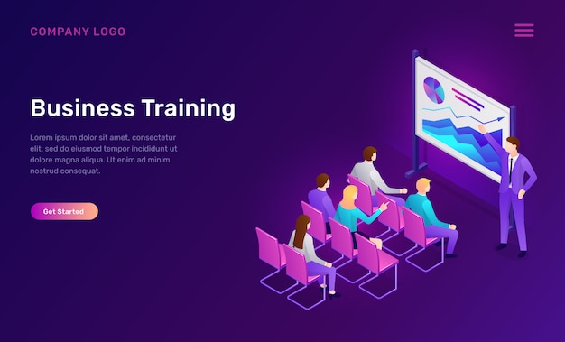 Plantilla web isométrica de formación empresarial