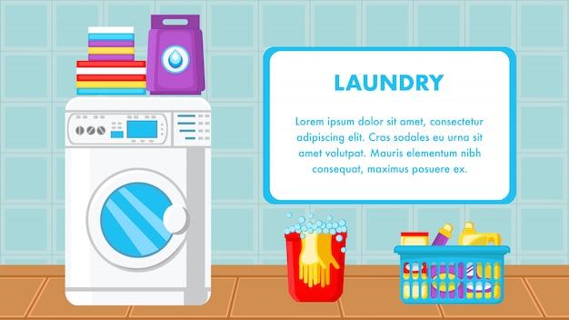 Plantilla web de lavandería con espacio de texto
