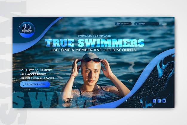 Plantilla web de natación con foto