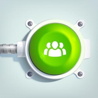 Plantilla web de negocios con icono de equipo y botón redondo verde en poste de metal aislado