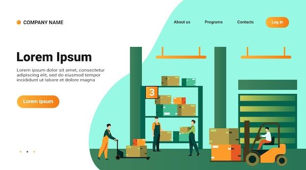Plantilla web o página de destino con ilustración de trabajadores logísticos que llevan cajas con cargadores en el almacén
