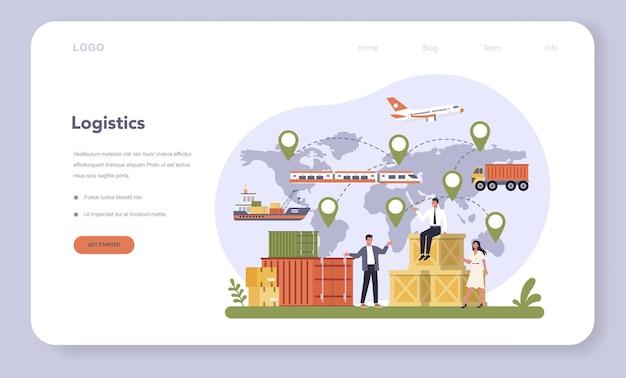 Plantilla web o página de destino de la industria logística y de transporte aéreo. servicio de transporte de carga. idea de envío y distribución ... ilustración plana aislada