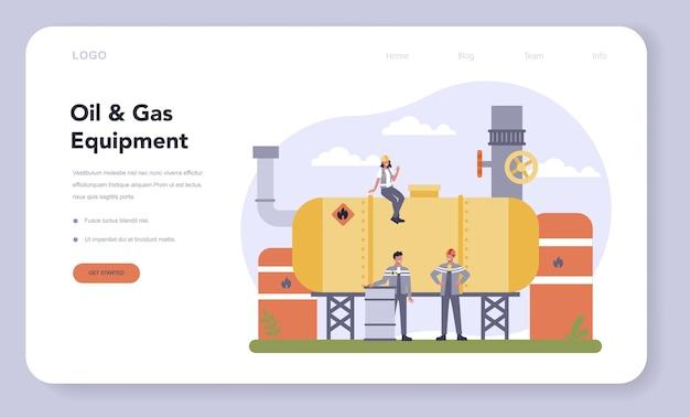Plantilla web o página de destino de la industria de petróleo y gas.