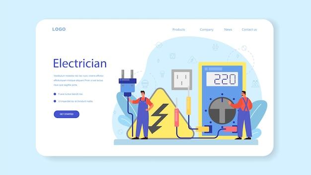 Plantilla web o página de destino del servicio de obras de electricidad.