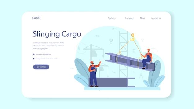 Plantilla web o página de destino de slinger. trabajadores profesionales de la industria de la construcción lanzando mercancías. operaciones de carga y descarga en conjunto con un mecanismo de elevación. ilustración vectorial