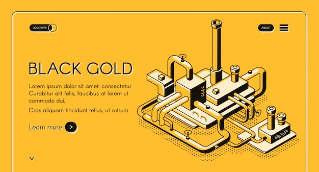 Plantilla web oro negro o banner con arte de línea de planta de refinería de petróleo
