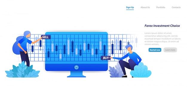 Plantilla web de página de aterrizaje. la acción sobre una inversión financiera, compra o pérdida de beneficios, es un riesgo en las decisiones de inversión en forex de acciones.