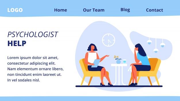 Plantilla web de página de aterrizaje con ayuda de psicólogo