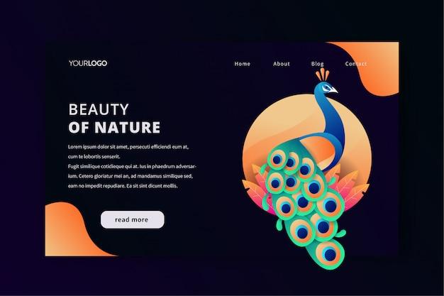 Plantilla web de la página de aterrizaje con la belleza del pavo real natural.