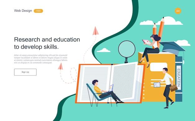 Plantilla web de página de aterrizaje. concepto de educación para el aprendizaje en línea, formación y cursos.
