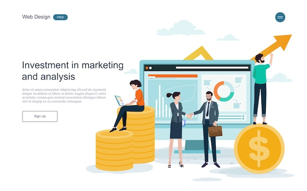 Plantilla web de página de aterrizaje. concepto para el financiero y la inversión.retorno de la inversión.