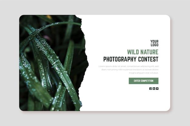 Plantilla web de página de aterrizaje del concurso de fotografía de naturaleza salvaje