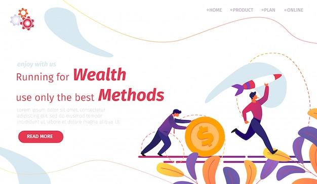 Plantilla web de página de aterrizaje. corriendo en busca de riqueza usa solo métodos de bestias
