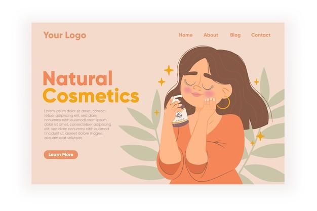 Plantilla web de página de aterrizaje de cosméticos de naturaleza