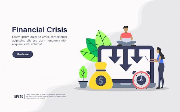 Plantilla web de página de aterrizaje de crisis financiera.