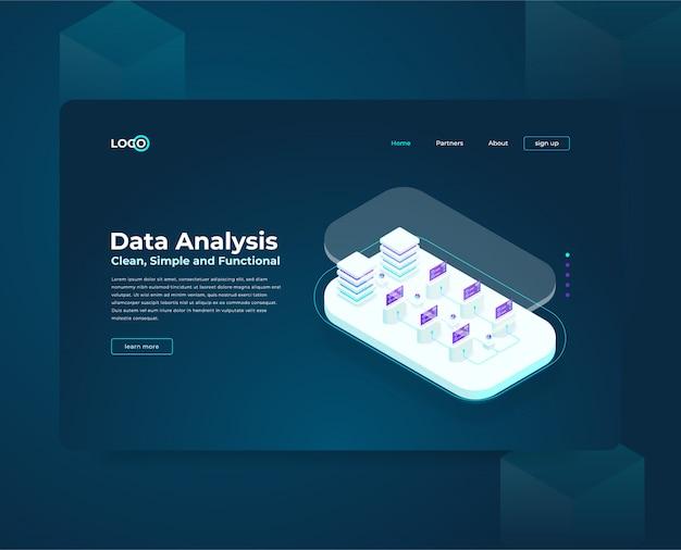 Plantilla web de página de aterrizaje para cryptocurrency y composición isométrica de blockchain, analistas y gerentes que trabajan en el inicio de criptografía, analistas de datos
