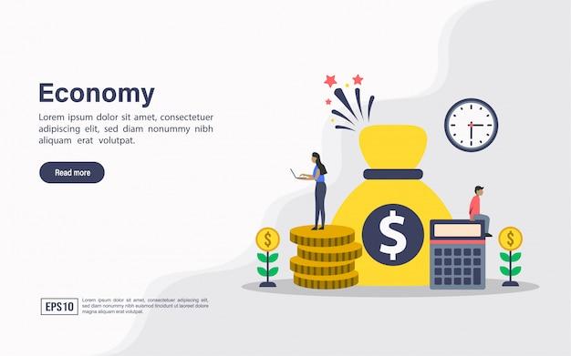 Plantilla web de página de aterrizaje de economía.