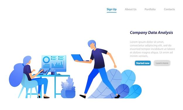Plantilla web de página de aterrizaje. los empleados analizan los datos estadísticos de la empresa. búsqueda y resolución de problemas corporativos en el análisis de datos.
